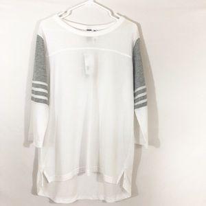 "Adidas 3/4"" Sleeve High-Low Jersey Tee"